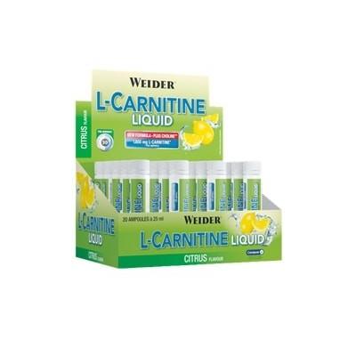 Comprar Reductores Sin Estimulantes WEIDER - L-CARNITINA LIQUID 25* 20 VIALES marca Weider. Precio 29,99€