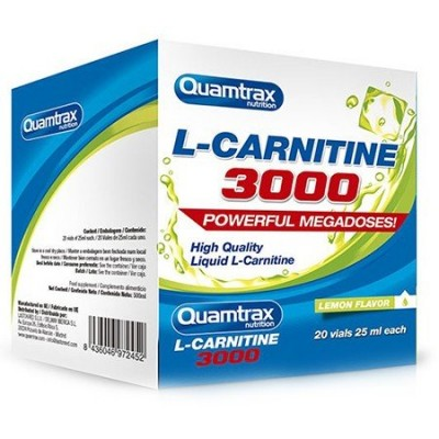 Comprar Reductores Sin Estimulantes QUAMTRAX - L-CARNITINA 3000 20 VIALES X 25 ML marca Quamtrax. Precio 15,90€